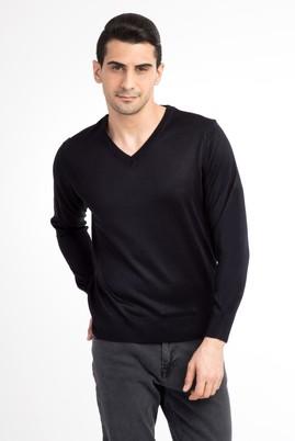 Erkek Giyim - Lacivert M Beden V Yaka Slim Fit Triko Kazak