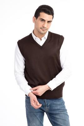 Erkek Giyim - Kahve S Beden V Yaka Slim Fit Süveter