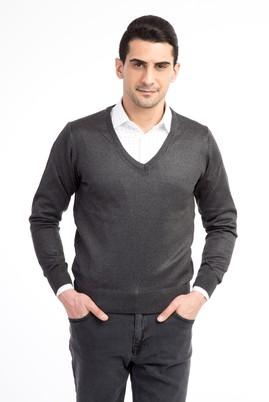 Erkek Giyim - Antrasit L Beden V Yaka Slim Fit Triko Kazak