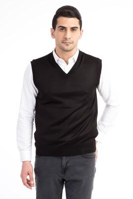 Erkek Giyim - Siyah XXL Beden V Yaka Slim Fit Süveter