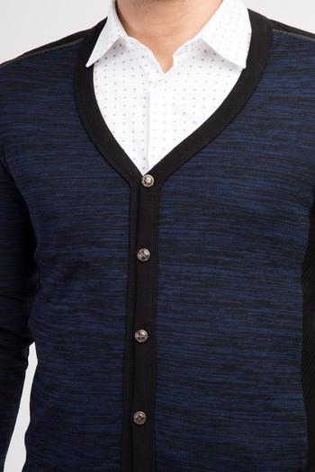 Erkek Giyim - Düğmeli Slim Fit Hırka