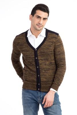 Erkek Giyim - Sarı XL Beden Düğmeli Slim Fit Hırka