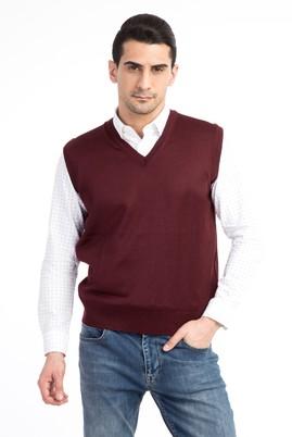 Erkek Giyim - Bordo S Beden V Yaka Slim Fit Süveter