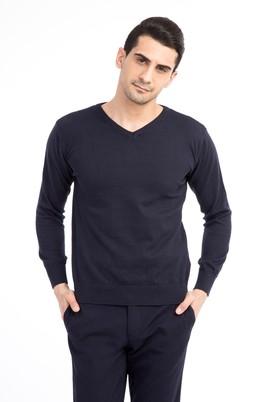 Erkek Giyim - Lacivert L Beden V Yaka Slim Fit Triko Kazak