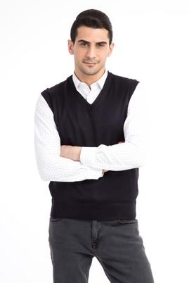 Erkek Giyim - Lacivert S Beden V Yaka Slim Fit Süveter