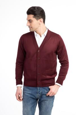 Erkek Giyim - Bordo XL Beden Klasik Slim Fit Hırka
