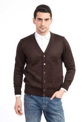Erkek Giyim - Kahve S Beden Klasik Slim Fit Hırka