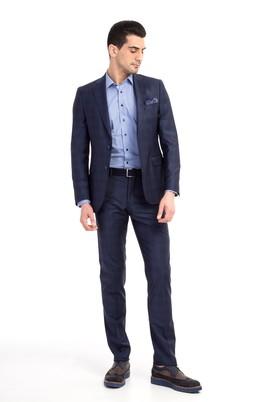 Erkek Giyim - Lacivert 62 Beden Ekose Takım Elbise