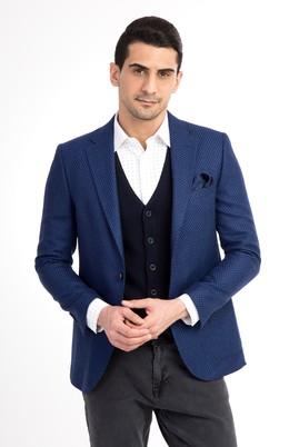 Erkek Giyim - Mavi 54 Beden Regular Fit Yünlü Kuşgözü Ceket