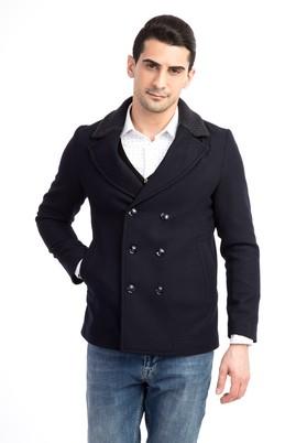 Erkek Giyim - Lacivert 60 Beden Kruvaze Kaşe Yün Kaban