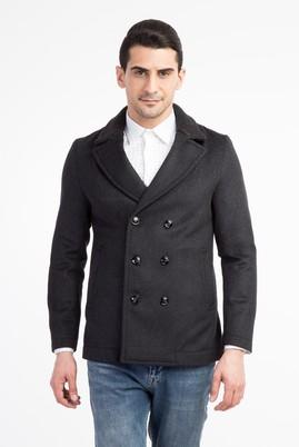 Erkek Giyim - Antrasit 60 Beden Kruvaze Kaşe Yün Kaban