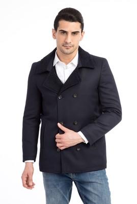 Erkek Giyim - Lacivert 54 Beden Kürk Yaka Kaban