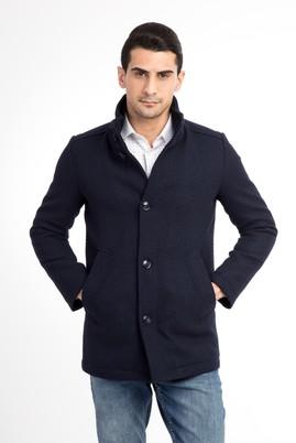 Erkek Giyim - Lacivert 64 Beden Ekose Kaşe Yün Kaban