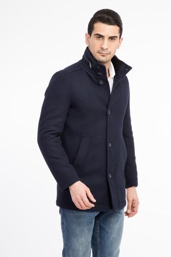 Erkek Giyim - Ekose Kaşe Yün Kaban