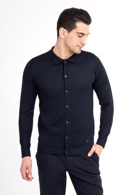 Erkek Giyim - Lacivert M Beden Polo Yaka Yünlü Slim Fit Triko Kazak