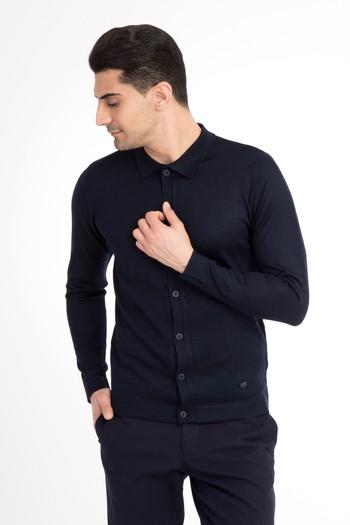 Erkek Giyim - Polo Yaka Slim Fit Triko Kazak