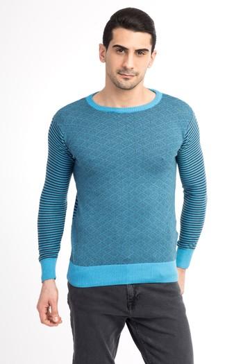 Erkek Giyim - Bisiklet Yaka Slim Fit Triko Kazak