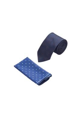 Erkek Giyim - Lacivert STD Beden 2'li Kravat Mendil Set