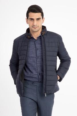Erkek Giyim - Lacivert M Beden Slim Fit Kapitone Mont