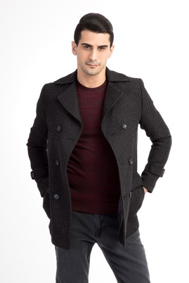 Erkek Giyim - Orta füme 50 Beden Kruvaze Kaban