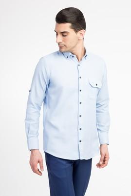 Erkek Giyim - Açık Mavi XL Beden Uzun Kol Regular Fit Desenli Gömlek