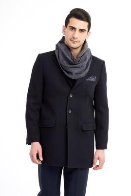 Erkek Giyim - Lacivert 52 Beden Mono Yaka Yünlü Palto
