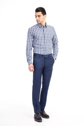 Erkek Giyim - Mavi 46 Beden Slim Fit Ekose Pantolon