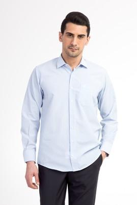 Erkek Giyim - Açık Mavi L Beden Uzun Kol Çizgili Gömlek