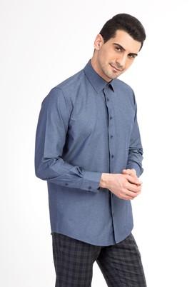 Erkek Giyim - Lacivert XXL Beden Uzun Kol Desenli Gömlek