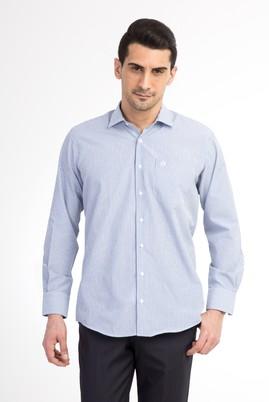 Erkek Giyim - Mavi XXL Beden Uzun Kol Çizgili Gömlek