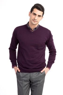 Erkek Giyim - Mor XL Beden V Yaka Slim Fit Triko Kazak