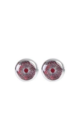 Erkek Giyim - Kırmızı STD Beden Desenli Kol Düğmesi