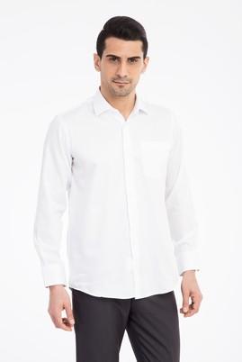 Erkek Giyim - Beyaz 5X Beden Uzun Kol Klasik Saten Gömlek