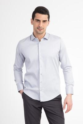Erkek Giyim - Açık Gri L Beden Uzun Kol Saten Slim Fit Gömlek