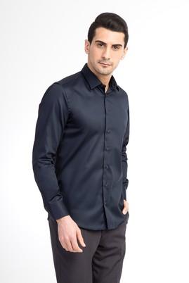 Erkek Giyim - Lacivert M Beden Uzun Kol Saten Slim Fit Gömlek