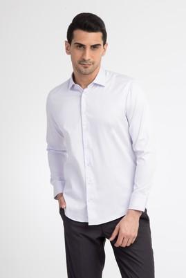 Erkek Giyim - Lila L Beden Uzun Kol Saten Slim Fit Gömlek