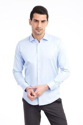 Erkek Giyim - Açık Mavi XS Beden Uzun Kol Slim Fit Saten Gömlek