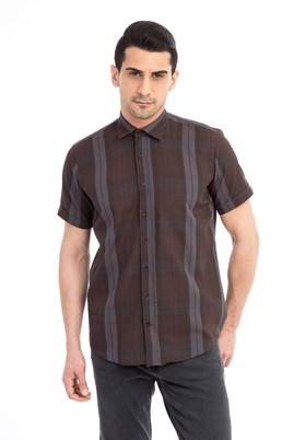 Erkek Giyim - Kahve XXL Beden Kısa Kol Klasik Gömlek