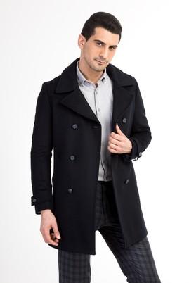 Erkek Giyim - Lacivert 58 Beden Kruvaze Kaşe Yün Kaban