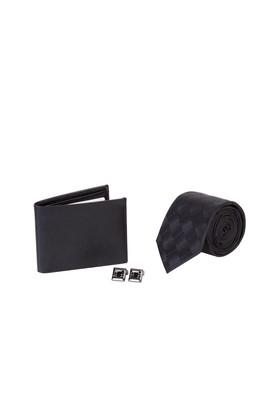 Erkek Giyim - Siyah STD Beden 3'lü Kravat Cüzdan Kol Düğmesi Seti