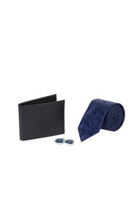 Erkek Giyim - Lacivert STD Beden 3'lü Kravat Cüzdan Kol Düğmesi Seti