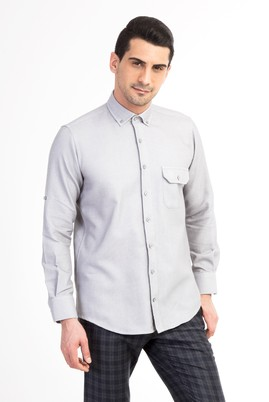 Erkek Giyim - Açık Gri XL Beden Uzun Kol Regular Fit Desenli Gömlek