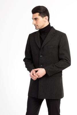 Erkek Giyim - Füme Gri 46 Beden Mono Yaka Yünlü Palto