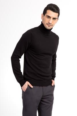 Erkek Giyim - Siyah M Beden Tam Balıkçı Yaka Triko Kazak