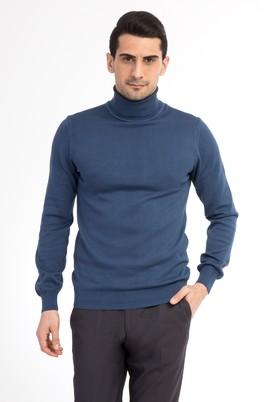 Erkek Giyim - Mavi XXL Beden Balıkçı Yaka Regular Fit Triko Kazak