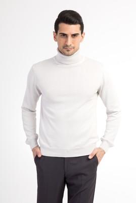 Erkek Giyim - Kum XL Beden Tam Balıkçı Yaka Triko Kazak