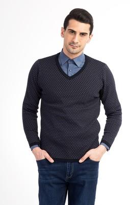 Erkek Giyim - Antrasit S Beden V Yaka Slim Fit Triko Kazak