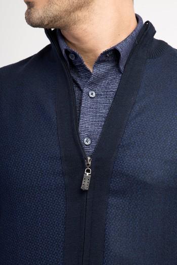 Erkek Giyim - V Yaka Önü Kumaşlı Triko Kazak