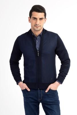 Erkek Giyim - Lacivert 3X Beden V Yaka Önü Kumaşlı Triko Kazak
