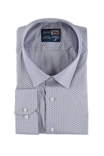 Erkek Giyim - Büyük Beden Uzun Kol Desenli Gömlek